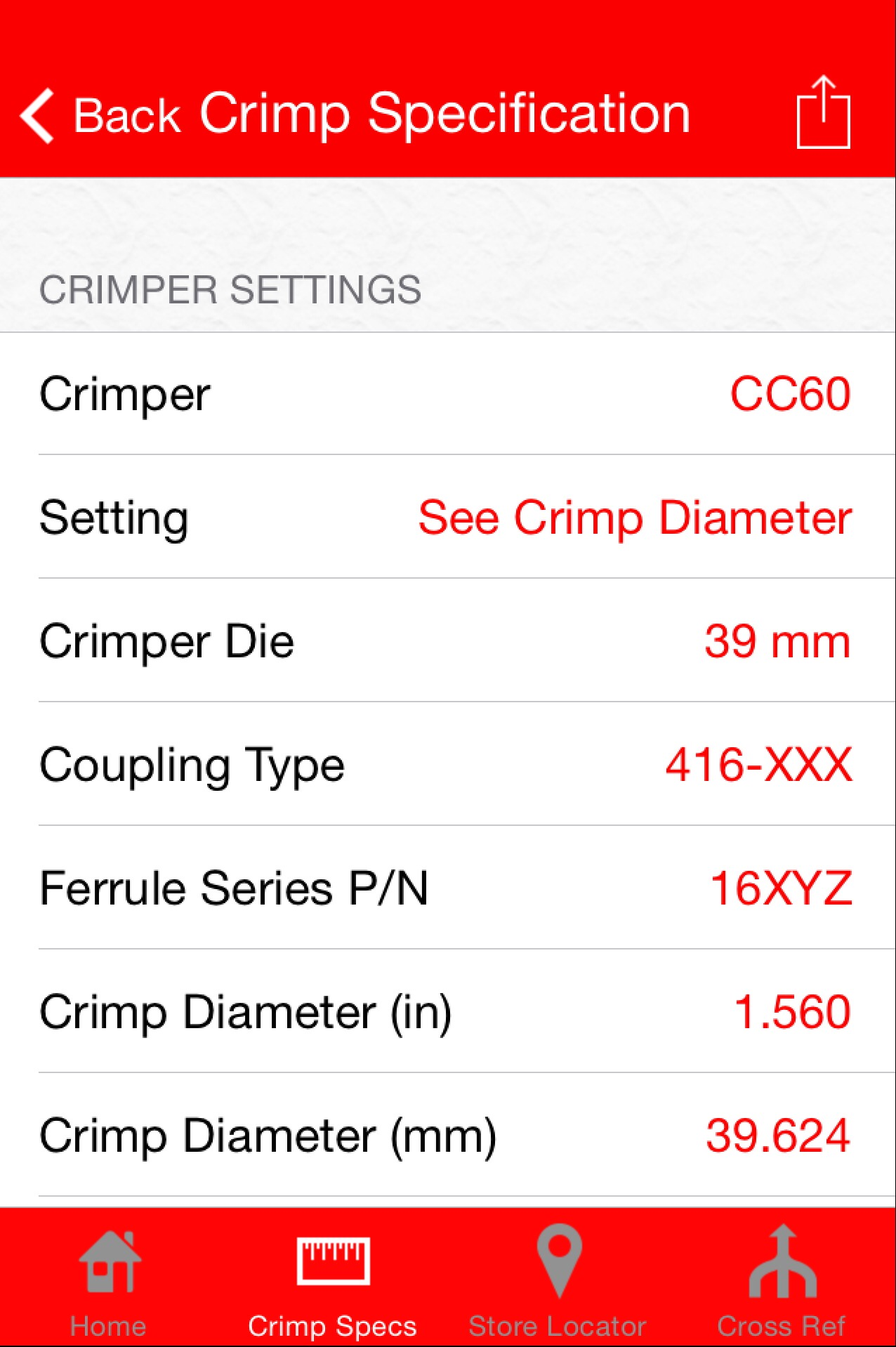 App Crimp Detail Screen